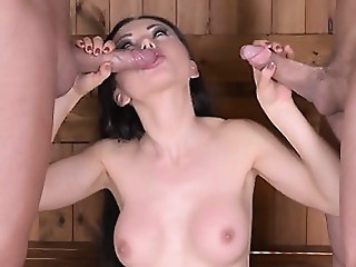 Hot pornstar threesome and cum in mouth anal big boobs blowjob video
