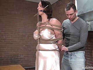 Karol Lilien & Ar in Cindy Gets Hogtied, Cleavegagged, And Stripped - KINK bdsm big tits brunette video