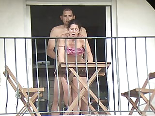 The neighbor gets fucked from all sides on the balcony anal cumshot public nudity video