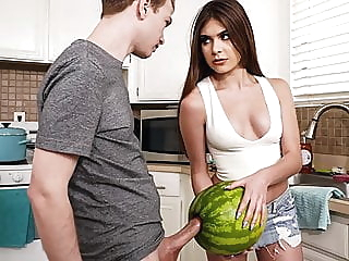 StepSister Caught Brother Masturbating With A Watermelon blowjob teen hd videos video