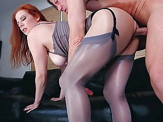 A PantyHose Affair: Lady Olivia & Laz Fyre, Pantyhose Fetish stockings redhead femdom video