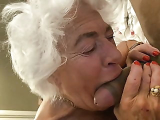 80YO GRAY HAIRED GRANNY SUCKING COCK blowjob hardcore mature video