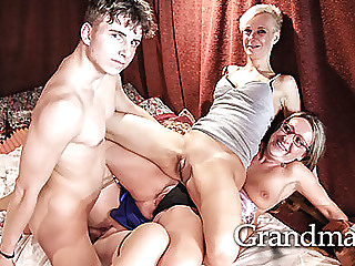 Young guy Etienne gets all the grannies at Grandma's hardcore mature group sex video