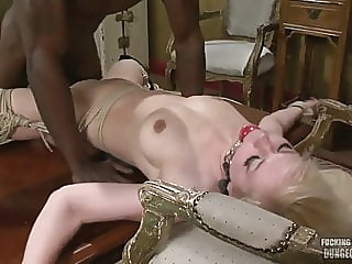 Blonde wife tied to chair and used by a black cock anal blonde hardcore video