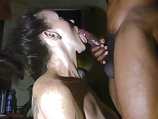 Cougar meets Young Black Man at the Bar. Bj at her House amateur blowjob interracial video