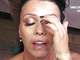 PremiumBukkake - Vicky Love swallows 48 mouthfuls of cum blowjob cumshot facial video