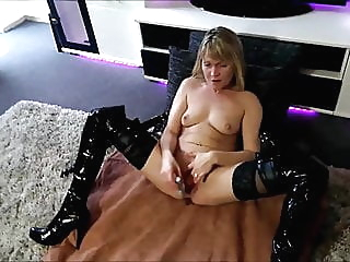 Worthless dumb German blonde cunt uses several toys amateur blonde sex toy video
