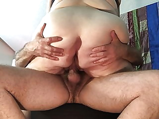 Mature BBW rides cock cowgirl on chair to loud orgasm, TnD bbw mature granny video