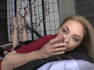 Nina Hartley nylon feet footjob and blowjob big tits blonde blowjob video