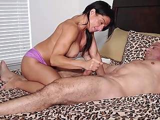 Alexis Rain licks my belly and jerks me off masturbation big tits hd video