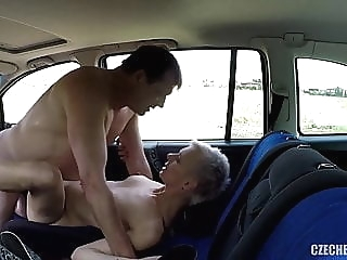 Older Hooker fucked in a car without rubber amateur public nudity hidden camera video