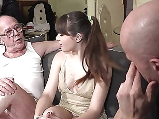 Grandpa watches granddaughter fucking blowjob brunette hairy video