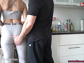 MyDirtyHobby - Fit babe Hanna Secret intense fuck on the kitchen table after the gym amateur big cock big tits video