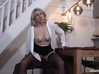 Black man is fucking a mature, blonde woman, Julie Francais, while her husband is working anal blonde french video