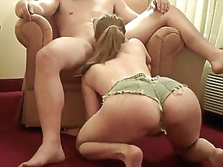 Wife gives blowjob to friend while husband watches blonde blowjob handjob video