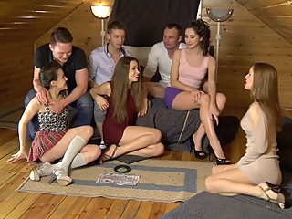 Ruth Folwer & Izi Ashley & Sabrina M & Eva Shanti in hot student girls share big dicks between them blowjob group sex lesbian video