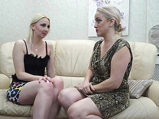 Two mature lesbians are making love on the couch and moaning from pleasure while cumming lesbian hd blonde video