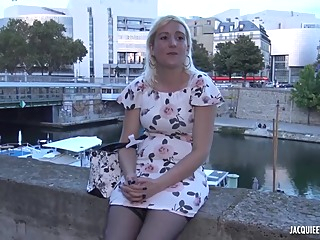 Mature blonde woman, Alysee is having casual sex with a black guy, and enjoying it a lot public big tits hd video