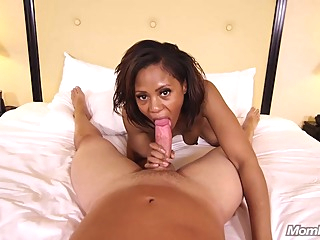 Hot, ebony lady is always in the mood to do naughty stuff with a horny, white guy fetish pov hd video