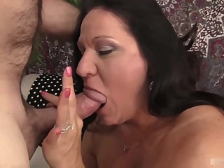 Mature brunette seems to be very experienced when it comes to sucking cock until it explodes big tits hd brunette video
