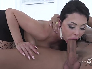 Seductive, French brunette with big boobs is sucking her employee's dick and getting fucked hard big tits hd brunette video