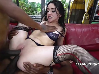 Amazing brunette, Mandy Muse is sucking a big, black dick and getting it up her butt anal hd brunette video