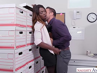 Small titted, black babe, Ana Foxxx is fucking her colleague from work during a lunch break hd interracial hairy video