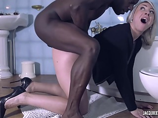 Dirty minded blonde milf, Julie is fucking a horny, black man, while in the bathroom shower hd blonde video