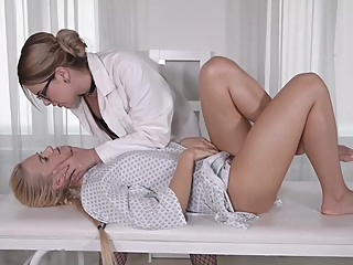 Two kinky lesbian bitches, Nikky Dream and Katy Sky are playing dirty with each other medical lesbian anal video