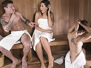 Makayla Cox & Mr. Pete in Sneaky Sauna Mama - Brazzers big tits brunette milf video