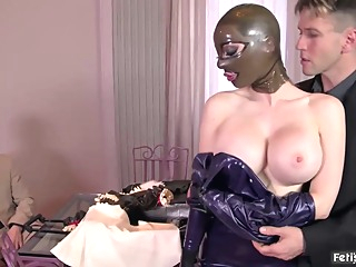 Latex beauty, Lucy is getting fucked very hard and cant wait to get a facial cumshot bdsm big tits blonde video