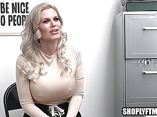 Huge Tit Blonde MILF Caught Stealing Necklace And Fucks Mall Cop blonde blowjob milf video