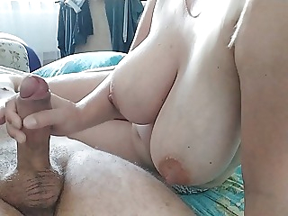 Her Tits shake when she jerks off a cock amateur cumshot tits video