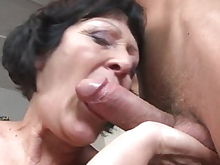 Grandma's Wet Dream blowjob cumshot old & young video