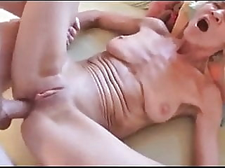 Granny Rita takes pussy & anal fucking before sucking him off. anal blowjob cumshot video