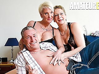 AMATEUR EURO - Annette Liselotte, Erna & Hiltrude Lesbo 3way amateur fingering mature video