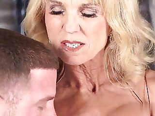 Hot Granny 60+ with Big Tits gets Cum Facial blonde cumshot facial video