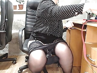 Secretary at work (change of panty liner and anal plug) bbw sex toy stockings video