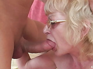 Czech blonde granny with glasses gets fucked by young cock blonde blowjob cumshot video