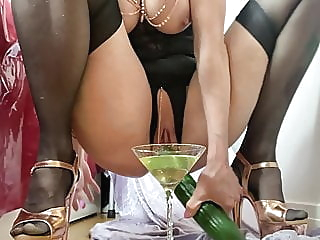 Sunday piss and cucumber blonde mature stockings video