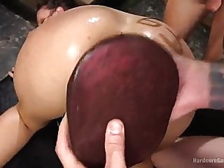 Gangbang fisting brunette bdsm double penetration video