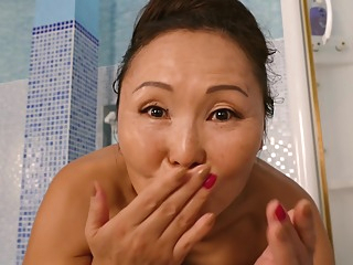 Lady Mongolia & Nelly - While their husbands at work they love to lick pussy and scissor in the bathroom asian cunnilingus hd video
