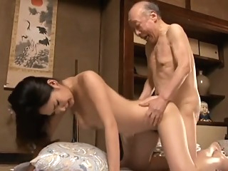 Erotic Japanese women sex with a Bald Old man Creampie It feels good asian babe blowjob video