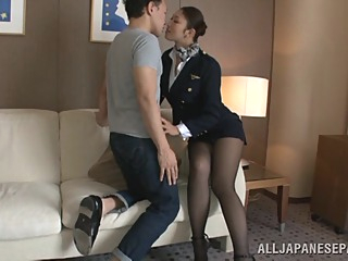 Hot stewardess is an Asian doll in high heels asian big tits cosplay video
