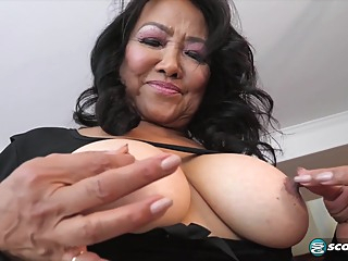 Mandy Thai is squeezing her tit while masturbating, because it feels much better like that asian bbw hairy video