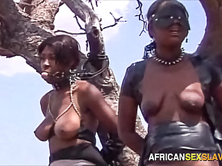 Ebony BDSM Sex Slaves Tied Up In Forest african amateur babe video