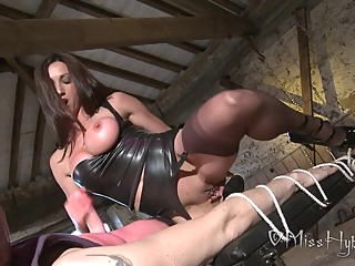 Serious English Lady Pleasuring Lucky Slave big tits brunette femdom video
