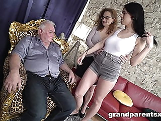 Leona & Sarah Simons - Old academics teaching their student blowjob brunette hardcore video
