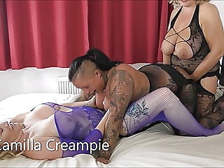 Camilla, Cheyenne and Mackenzie Strap-on Threesome Promo lesbian milf british video