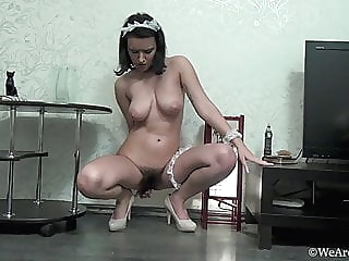 Stunning Ramira's hairy pussy in black maid outfit brunette lingerie russian video